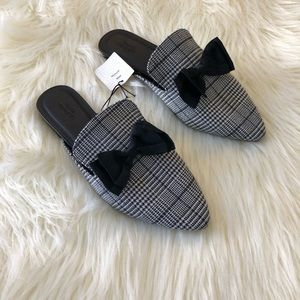 Urban Outfitters Plaid Bow Slide Loafers